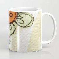 Embroidered Flowers Green Mug