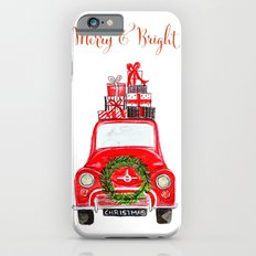 Red Christmas Car - white  iPhone 6s Slim Case