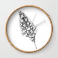 Polka Dotted Feather Wall Clock