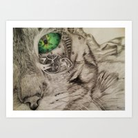 Tick Tock Meow Art Print