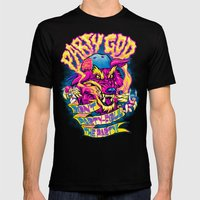 PARTY GOD (magenta) Mens Fitted Tee Black SMALL