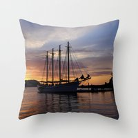 Schooner at sun rise Throw Pillow