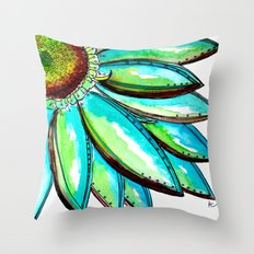 Gerber Daisy Watercolor in Aqua and Green Throw Pillow