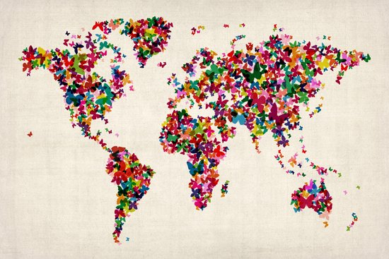 Butterflies Map of the World Map Art Print