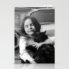 The Girl With Black Cat Stationery Cards