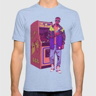 Monster Arcade Mens Fitted Tee Tri-Blue SMALL