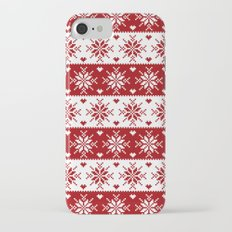 Red Fair Isle Christmas Sweater Snowflakes Pattern iPhone 7 Slim Case