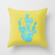 Linocut Cacti #1 Desert Blue Throw Pillow
