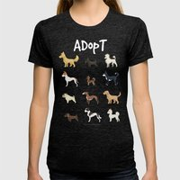 Adopt.Adopt.Adopt! Womens Fitted Tee Tri-Black SMALL