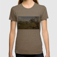 Deserted Womens Fitted Tee Tri-Coffee SMALL