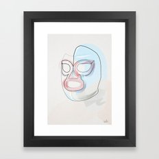 One Line Nacho Libre Mask Framed Art Print