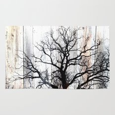 Tree Silhouette on Wood Rug