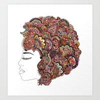 Her Hair - Les Fleur Edi… Art Print