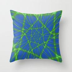 Neon Green Web on Blue Throw Pillow