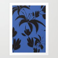 Black And Dark Blue Nigh… Art Print