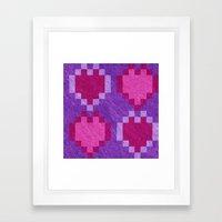 Pink Purple PIxel Hearts Framed Art Print