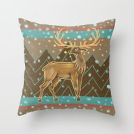 Golden Christmas Deer  Throw Pillow