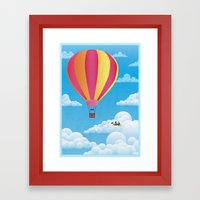 Picnic In A Balloon On A… Framed Art Print