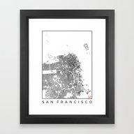 Framed Art Print featuring San Francisco Schwarzpla… by City Map Art