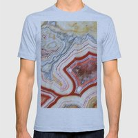 Marble Red Mens Fitted Tee Athletic Blue SMALL