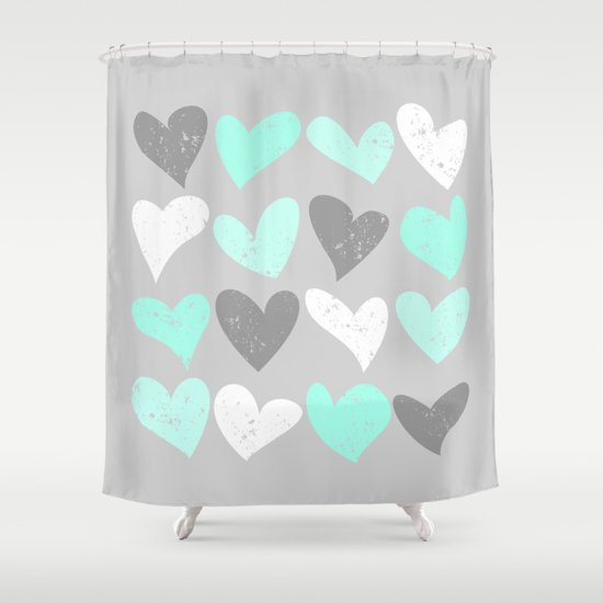 Mint White Grey Grunge Hearts Shower Curtain By Colorshop