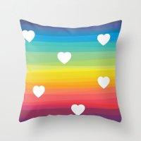 Rainbow hearts Throw Pillow