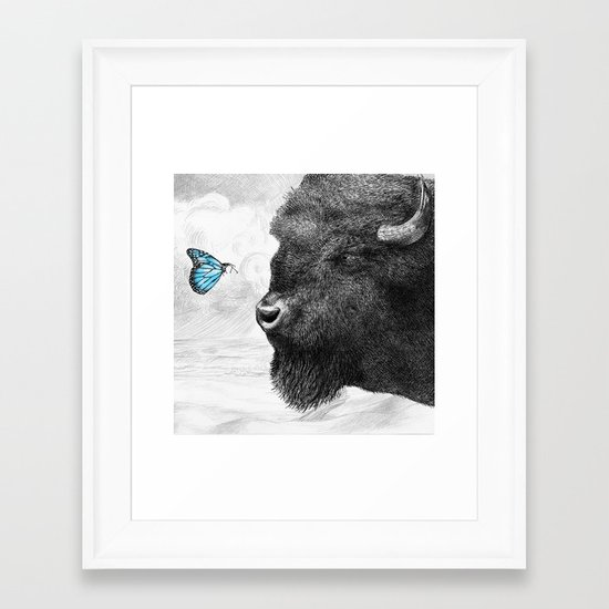 Bison and Butterfly (square format) Framed Art Print