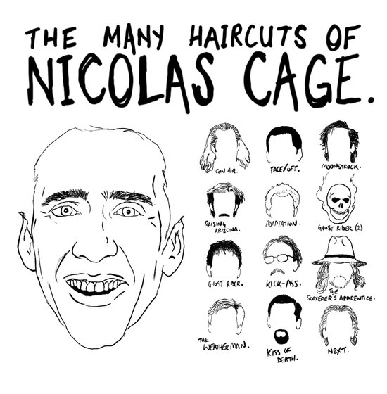 The Many Haircuts Of Nicolas Cage. Art Print
