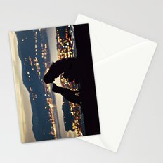 Girl and dog silhouettes  Stationery Cards