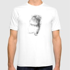 Squirrel White Mens Fitted Tee SMALL