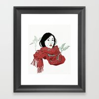 Strawberry Sadness Framed Art Print