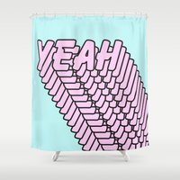 YEAH Typography Pink Blue Shower Curtain