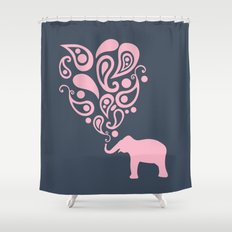 Pink Grey Paisley Elephant Pattern Design Shower Curtain