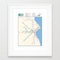 Milwaukee Transit System Map Framed Art Print