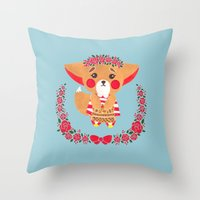Miss Fennec Fox Throw Pillow