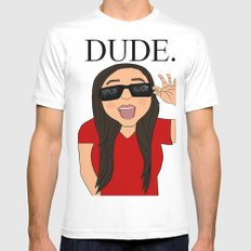 DUDE. Mens Fitted Tee White SMALL