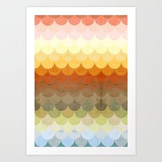 Half Circles Waves Color Art Print