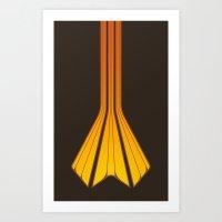 Retro Lines - Orange Fla… Art Print