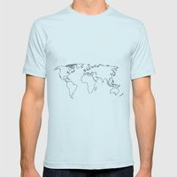 world Mens Fitted Tee Light Blue SMALL