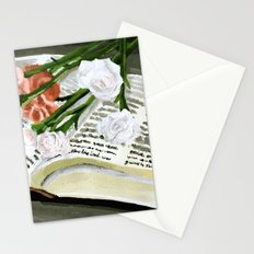 Flowers on Bible Painting  Stationery Cards