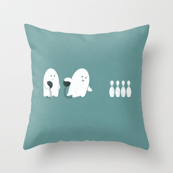Bowling Ghost Throw Pillow
