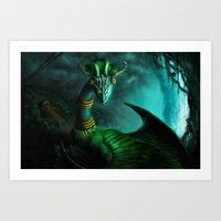 Aztec dragon (older work) Art Print