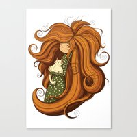 Girl and white cat Canvas Print