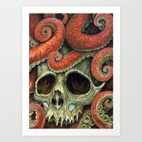 Orange Tentacles Skull Art Print