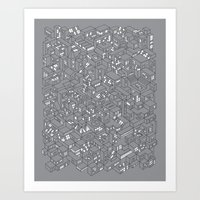 City Grid Night Print Art Print