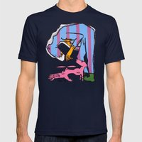 Bear Man with Pet Fledgling Mens Fitted Tee Navy SMALL
