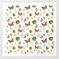 Butterflies And Plaid Art Print