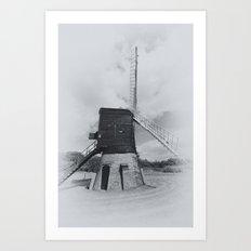 Post mill windmill mono Art Print