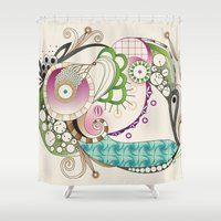 Autumn tangle, sienna - purple color set Shower Curtain