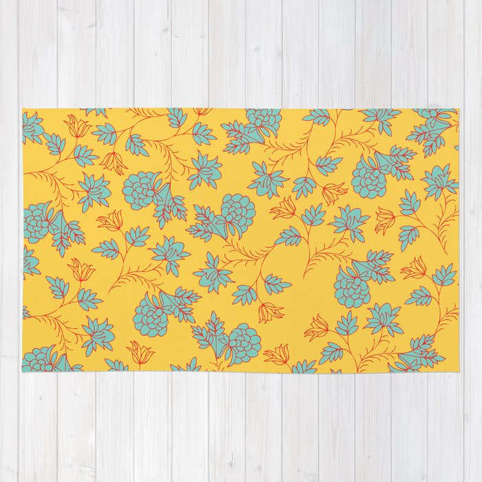 Bright floral pattern rug by aticnomar society6 for Bright floral area rugs